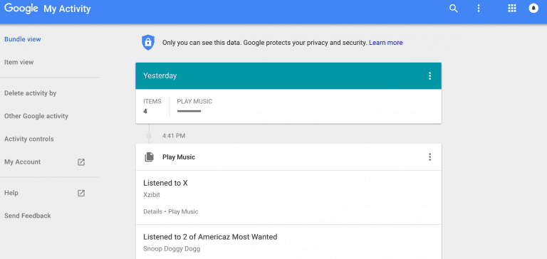 Personalized search history