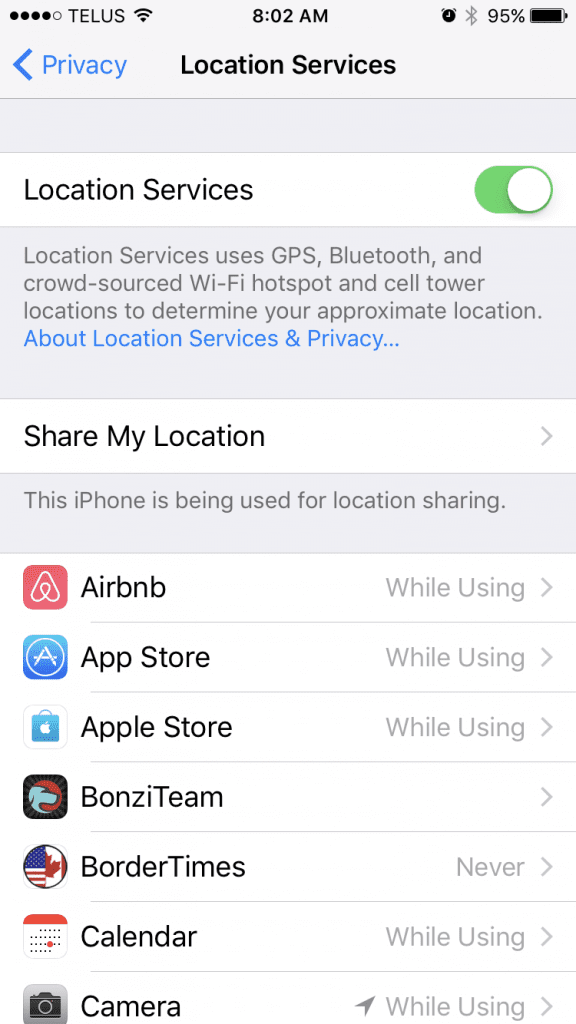 screenshot of iOS location services
