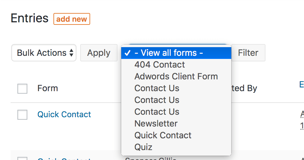 screenshot of the list of forms in formidableforms plugin