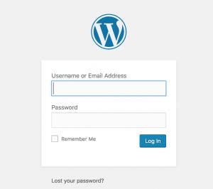 screenshot of the wordpress login